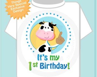Boys It's My First Birthday Shirt Farm Theme Birthday with Cow Personalized 1st Birthday Farm Theme (07032012a)