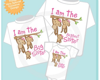 Sibling Monkey Shirt Set, Set of Three, Biggest Sister Shirt, Big Sister, Baby Sister, Personalized Shirt or Onesie (04242014d)