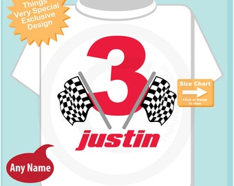 3rd Birthday Checkered Flag Racer Shirt or bodysuit, Personalized Birthday Boy Racing Theme Tee Shirt or Onesie (07162014c)