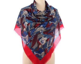 Blue BIRDS Print Shawl 80s Large Vintage Nomad Scarf Red White Grey Red Extra Large Wool Wrap  Large Wrap Scarf Novelty Printed Shawl Blue