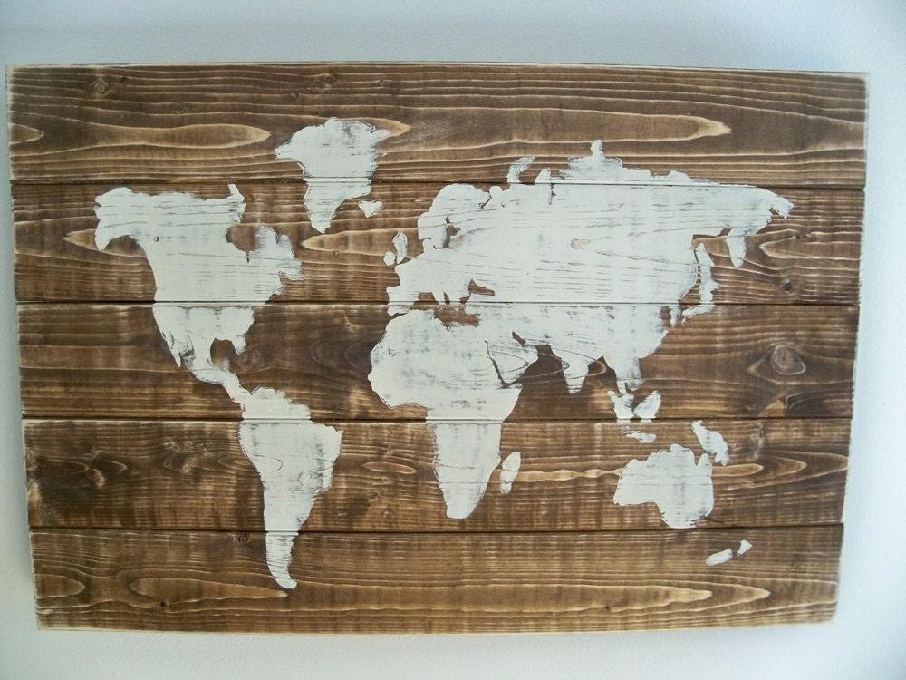 World Map Wall Decor Wood : World map wood wall hanging on dark walnut stain by