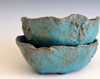 Ceramic Cereal Bowls soup bowls - turquoise dinnerware ceramic bowls - tableware organic shaped icecream Bowls