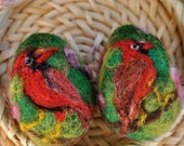 Needle Felted Waldorf  Easter eggs-Cardinal bird--needle felt by Daria Lvovsky-