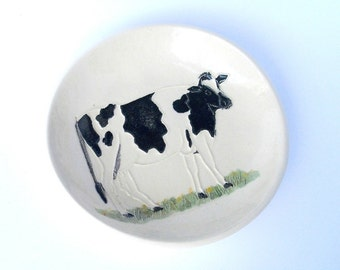 Treasure Dish! Hand Carved Ceramic Dairy Cow original design in black white for jewelry, soap, anyday gift by Faith Ann Originals Etsy dc5b