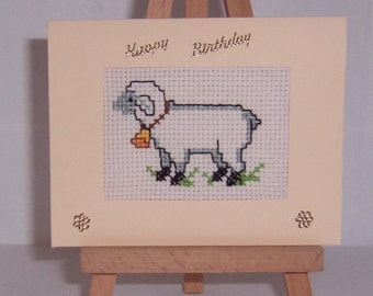 Sheep Completed Hand stitched cross stitch card, greetings card, Birthday Card , counted cross stitch card.Handmade card