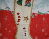 Vintage Christmas Stocking with Beads and Sequins 1950s