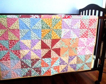 """Pinwheels Bright and Sweet Baby Quilt Lap Quilt Throw  Retro Style  40"""" x 40"""""""