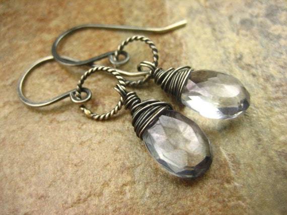 Sparkly Slate Blue Mystic Quartz Wire Wrapped Gemstone Dangle Earrings Gray Oxidized Sterling Silver stormy watery