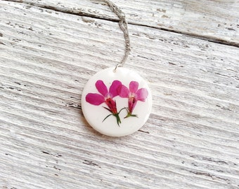 Pressed Flower Necklace Nature Inspired Botanical Minimalist Hot Pink White Lobelia Bridal Naturalist Garden Ceramic Delicate