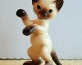 Whimsical Siamese Cat Figurine mid-century