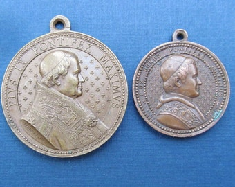 Pope Pius IX French Bronze Religious Medals Signed Penin Catholic Two Piece Lot Circa 1800   SS37