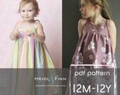 Summer Maxi Dress pattern and tutorial PDF 12m-12y easy sew long tank dress tunic