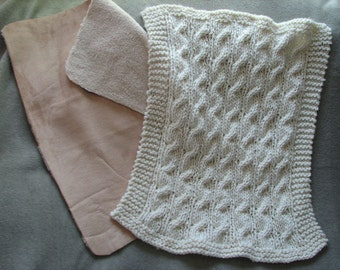 Baby Carseat Knitted Afghan Lined with Sherpa and Suede