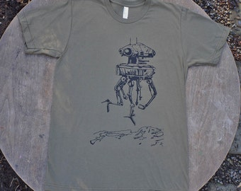 Imperial Probe Droid Star Wars  T-Shirt American Apparel Tee Army Green for Men
