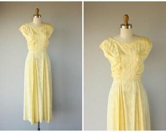 Vintage 1930s Dress | 30s dress | Tea Length Dress | Yellow Floral Jaquard Gown