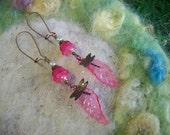 Long Dragonfly Earrings, Pink Leaf,