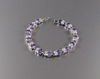 1960's LAVENDER RHINESTONE BRACELET Bridal Jewelry