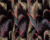 one pair Barkcloth Drapes Set Pinch Pleats Black background  Palm Leaves
