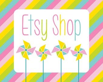 Etsy Shop Banner, Etsy Cover Shop Icon, Polka Dot Pinwheels, Spring Premade Etsy Shop Set, Modern Design Package, Logo Design Branding