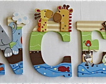 Personalized 9 inch wood hand-painted letters - Noah's Ark