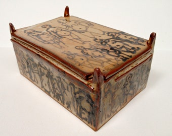 "High Fire Shino Glazed Lidded Box - ""Temple of Love"""