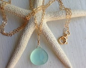 Aqua Blue Chalcedony necklace on 14K gold filled chain. Something Blue. Evening out. Made in Hawaii 18 inches Best Friend Mother in Law Gift