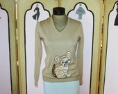 Vintage 80's Embroidered Baby Lion Sweater by Rochelle California. Small.