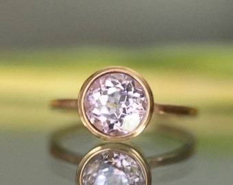Kunzite 14K Rose Gold Ring, Engagement Ring, Gemstone Ring, Stacking Ring,  - Made to Order