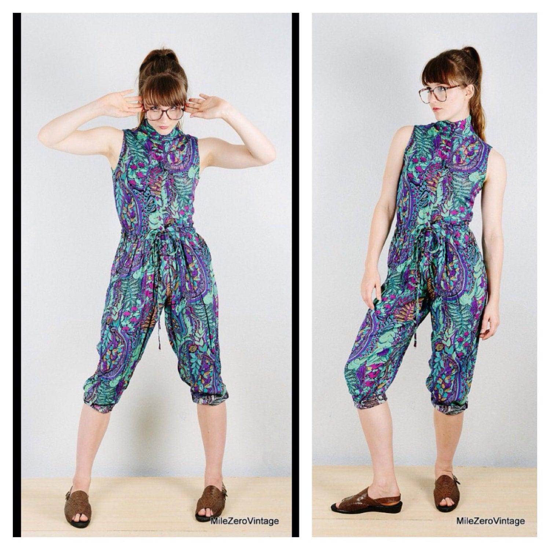 6c1e43d24935 90s HAREM Romper Jumpsuit Pants Floral M Playsuit