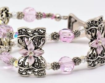 Pink Swarovski Floral Slider Metal 2 Strand Beaded Bracelet - BR00201