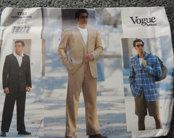 Vogue 1753 Mens Jacket, Vest, Shorts and Pants in sizes 44-46-48 (uncut)