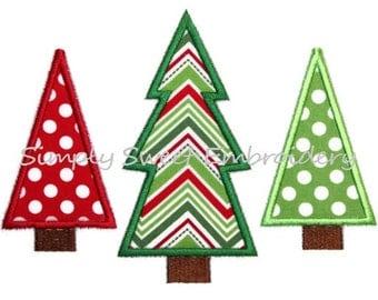 Christmas Tree Trio Machine Embroidery Applique Design