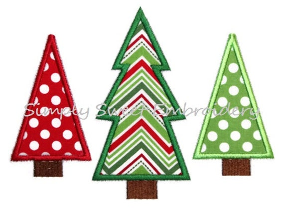 Christmas Tree Trio Machine Embroidery By SimplySweetEmbroider