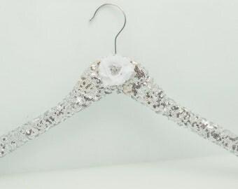 Sequin Bridal Wedding Dress Hanger Silver Bling