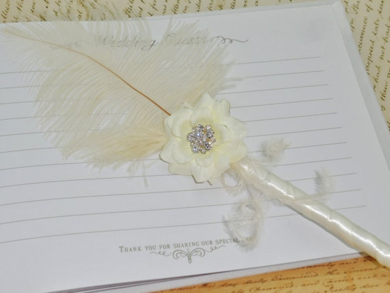 Ivory or White Ostrich Feather and Rhinestone Rose Guestbook Pen ~ Momento