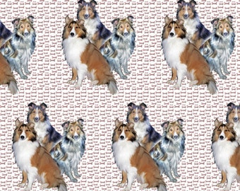 Shelties and Bones cotton fabric