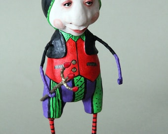 Halloween Devil Clay Figurine Craft One of a kind paperclay Doll
