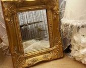 Gold Ornate Baroque Mirror Table Vanity / Wall Mirror / Shabby Victorian Vintage Nursery Decor / Wedding