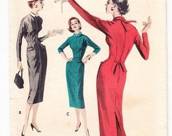 Vintage 1957 Butterick 7809 Sewing Pattern Junior's, Misses' Slender Dress Size 14 Bust 32