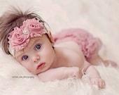 Vintage Pink Headband, Baby girl Headband, Shabby Chic headband, Newborn Headband, Infant Headband,lace Headband, Baby Headbands, Photo Prop