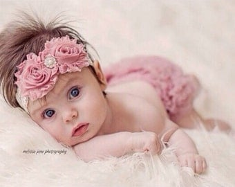 Baby girl Headband, Shabby Chic, Rose trim headband,Vintage inspired,  Newborn Headband, Infant Headband,lace Headband, Photo Prop