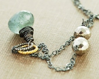 Moss Aquamarine Pyrite Necklace in Sterling Silver, Rustic Jewelry, March Birthstone Necklace