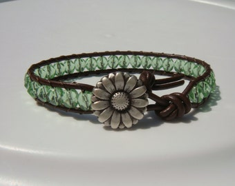Green Beaded Leather Bracelet with Daisy Button