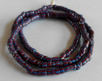 African Trade Beads- Old Chevron Cane Glass-Teal- Rust-Tribal- Primitive- Rustic #14C
