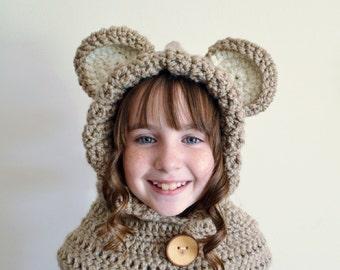 Light Brown Bear Hat - Light Brown Bear Hoodie - Light Brown Bear Cowl - Animal Hat - Hooded Scarf - Crochet Hoodie - Chunky Crochet Hat
