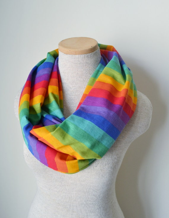 Knitting Pattern For Rainbow Scarf : Rainbow Striped Infinity Scarf