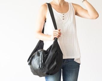 Black leather crossbody bag, hobo bag shoulder purse caryall bag crossover womens large bag- Crossbody Kallia bag