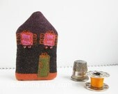 tiny HOUSE brooch in deep purple, brown and orange with pink windows