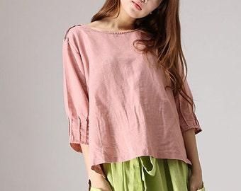 loose top, Linen Shirt,pink top, Linen Blouse with Pintuck Sleeve Bateau Neckline, linen top, womens tops, peasant blouse, peasant top 77712