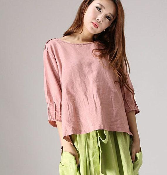 loose top, Linen Shirt,pink top, Linen Blouse with Pintuck Sleeve Bateau Neckline, linen top, womens tops, peasant blouse, peasant top 77712